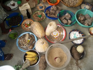 Displaying the bounty of family farms in Bongor, Sierra Leone. Photo: J. Baxter