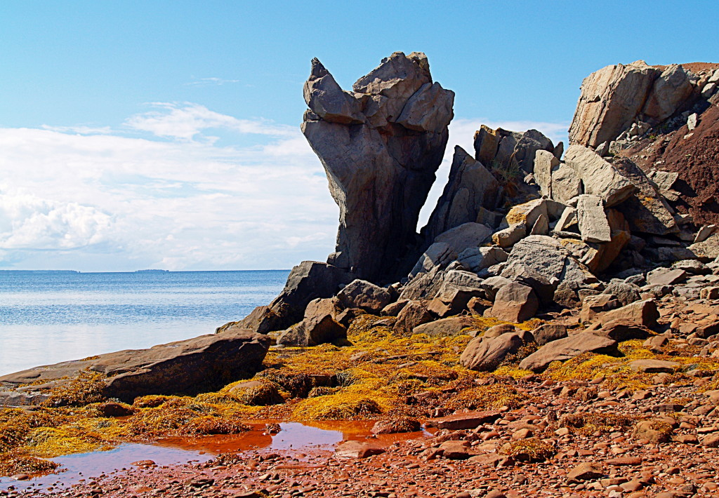 Rock sculpture done by the waters of the Northumberland Straight,at Cape John, Nova Scotia