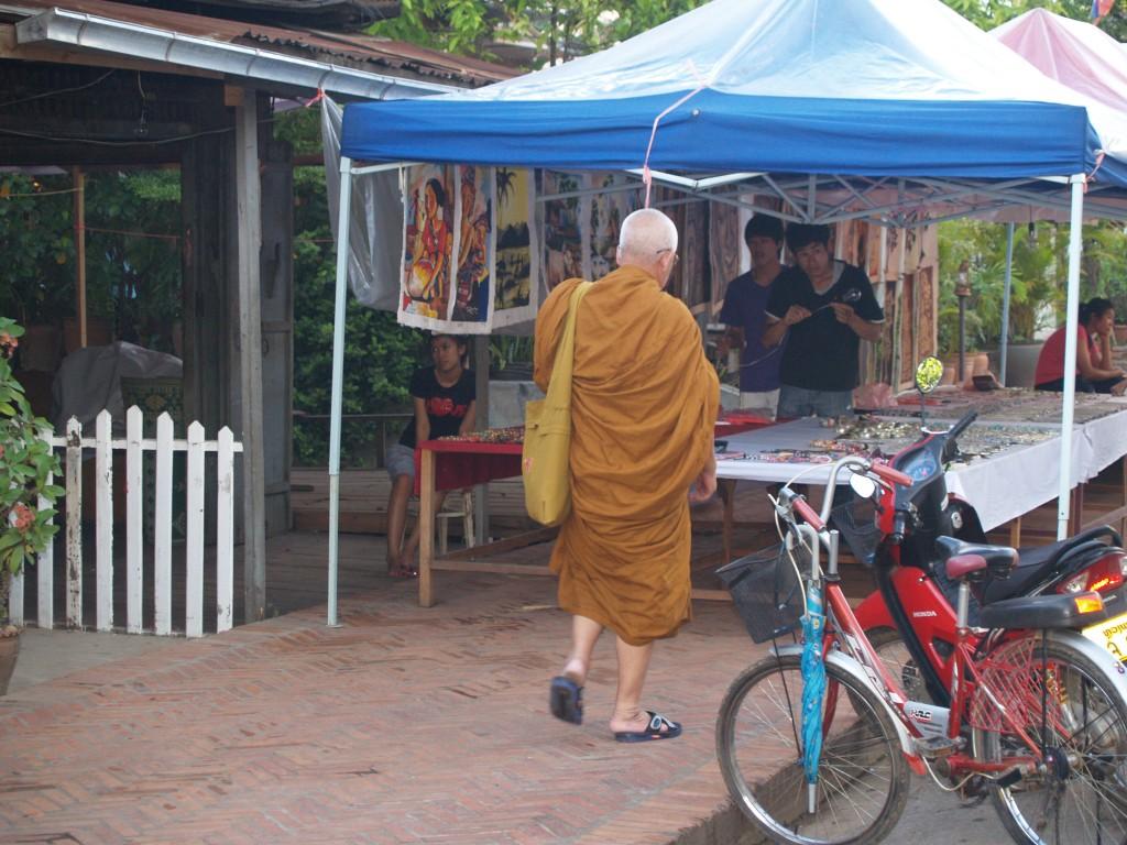 Luang Prabang street and monk
