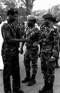 In this historic photo, Blaise Compaoré greets Henri Zongo and Jean-Baptiste Lingani, both of whom his regime had killed in September 1989, alleging a coup plot against him. (credit: Joan Baxter)