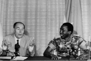 French President Mitterrand with Thomas Sankara in Ouagadougou, 17 November 1986 (credit: Brigitte Sodatanou)