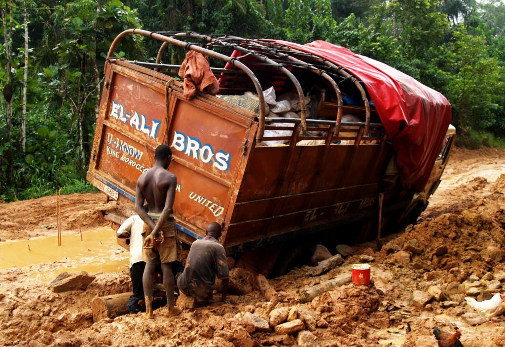 Rainy season road from Pendembu to Kailahun can be impassable