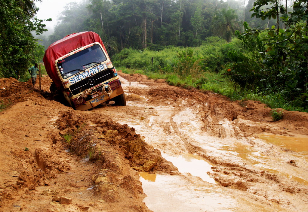 The rains play havoc with the road from Kailahun to Pendembu, making it very difficult for farmers to get produce to market