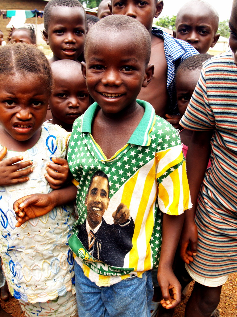 Sierra Leonean children donned Obama t-shirts without knowing who he was