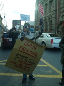 Protesting fracking - a method to extract unconventional oil and gas deposits - in Nova Scotia.