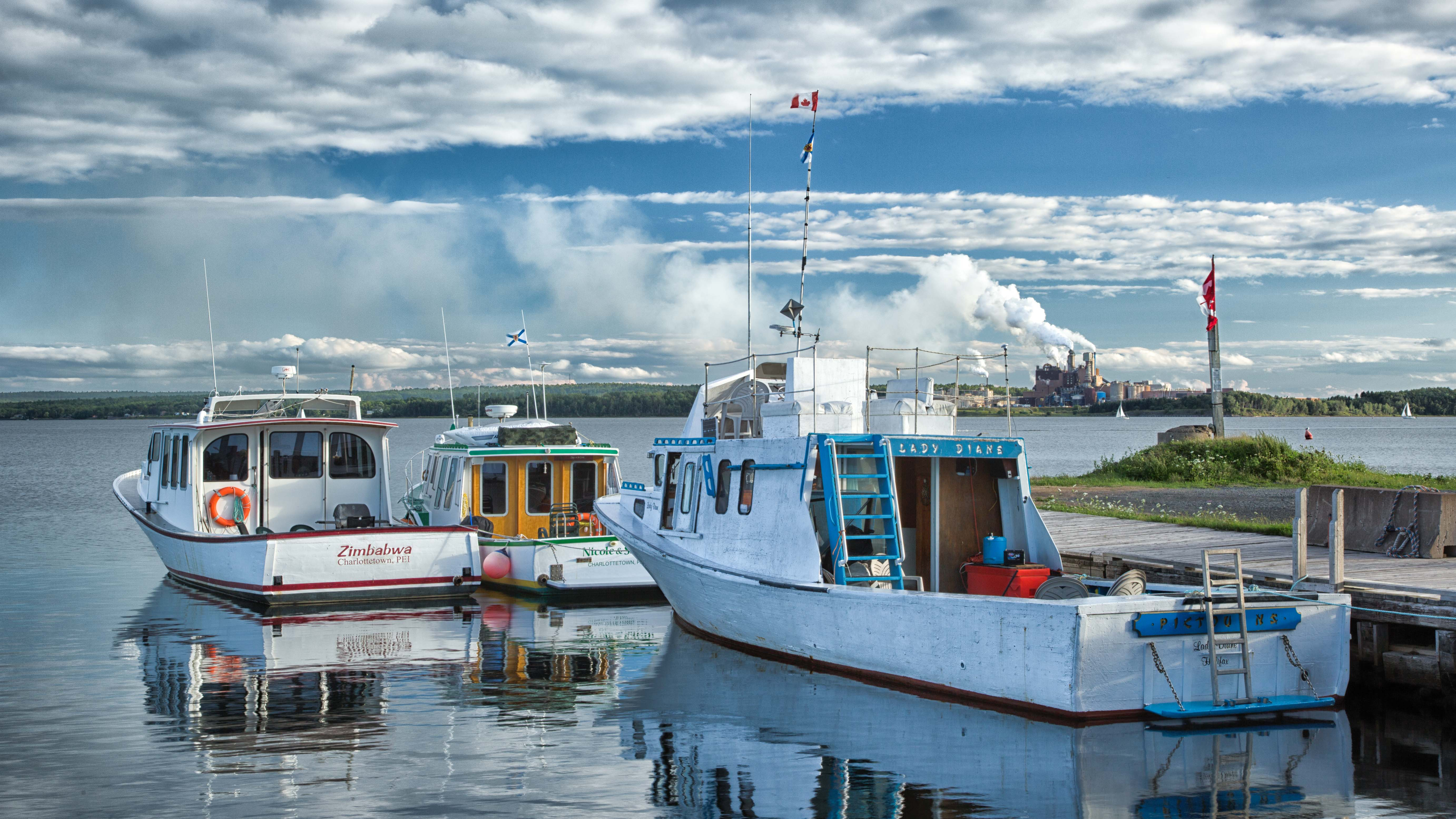 The picturesque waterfront of the historic town of Pictou with Northern Pulp as its backdrop. Photo by Dr. Gerry Farrell