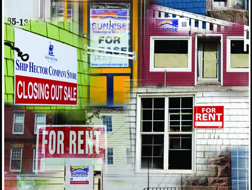 Marianne Fraser's photo collage shows the high vacancy rates in Pictou.