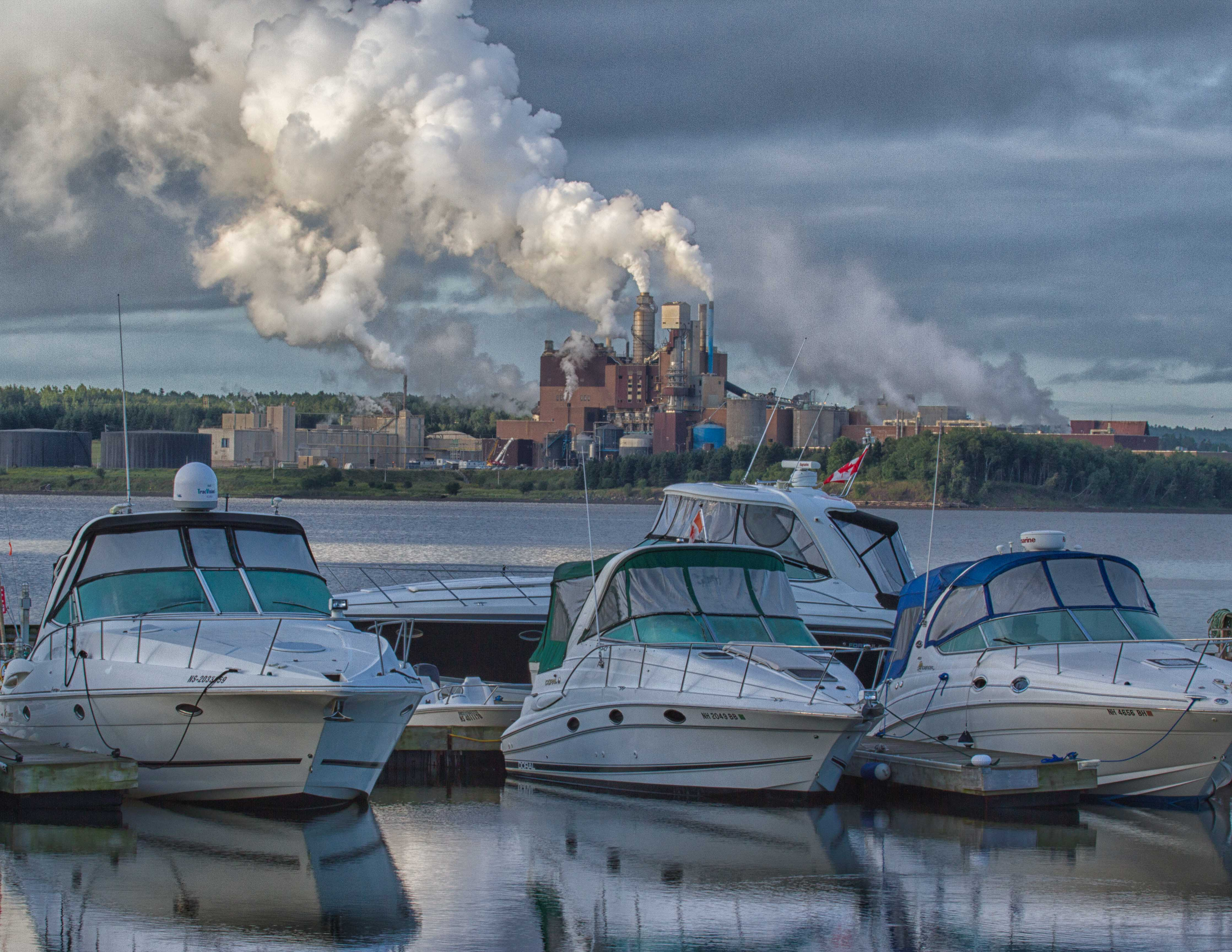 The pulp mill is a constant and smelly backdrop in Pictou. Photo by Dr. Gerry Farrell